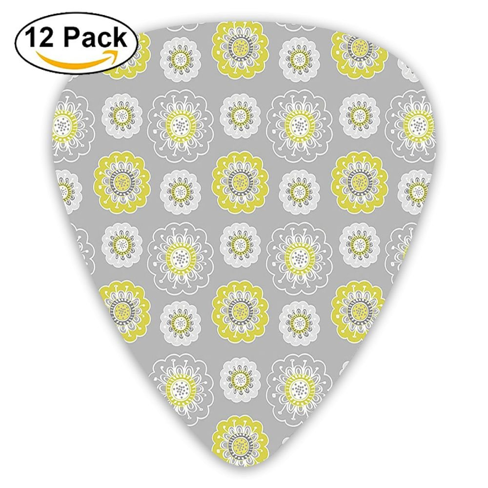 Newfood Ss Light Grey Backdrop With Indian Inspired Flowers Ivy Guitar Picks 12/Pack Set