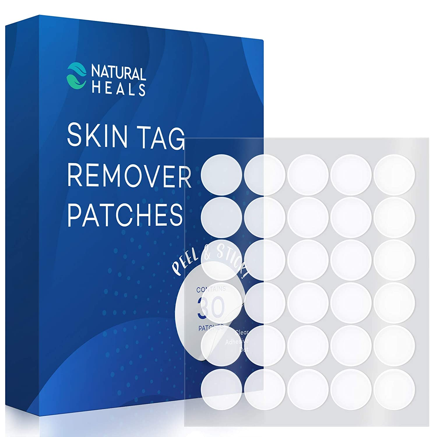 Natural Heals Skin Tag Remover Patches, Mole Remover Set 30 patches, Tags dries and fall away, Natural Ingredients, improved formulation skin tag remover