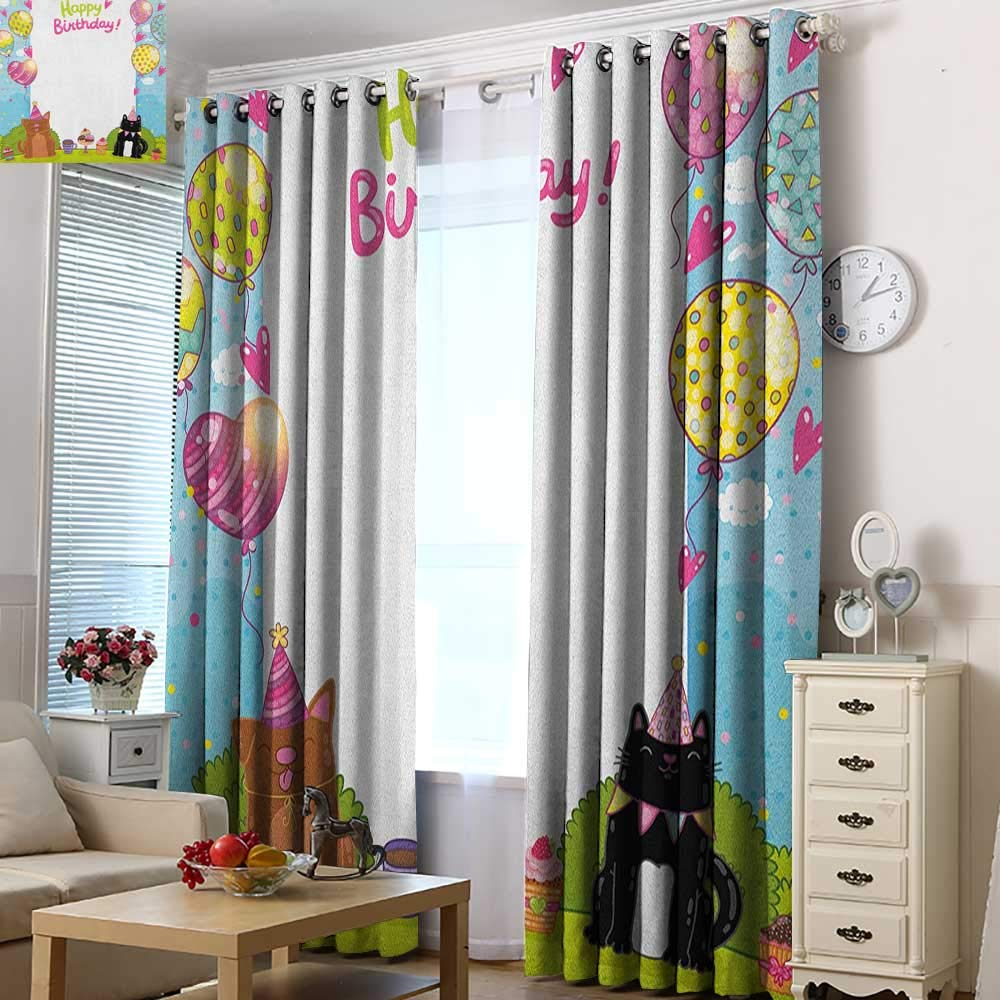 Acelik Custom Curtains Kids Birthday Party Black and Brown Cats Cakes Balloons Heart Traditional Polka Dots Art Room Darkening, Noise Reducing 72'' W x 84'' L Multicolor