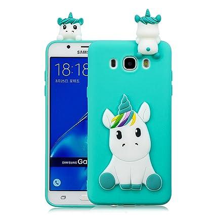 Leton Funda Samsung Galaxy j7 2016 Silicona Unicornio 3D Suave Flexible TPU Carcasa Galaxy j710 Ultra Delgado Mate Gel Tapa Antigolpes Goma Cubierta ...