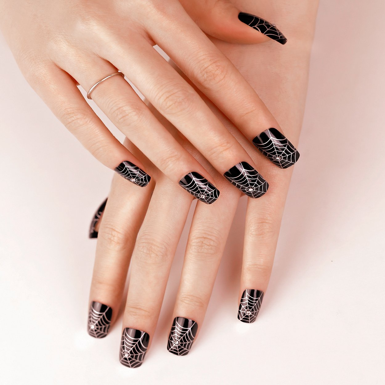 ArtPlus Uñas postizas 24pcs Gothic Black Silver with Crystals False Nails French Manicure Full Cover Long Length with Glue Fake Nails: Amazon.es: Belleza