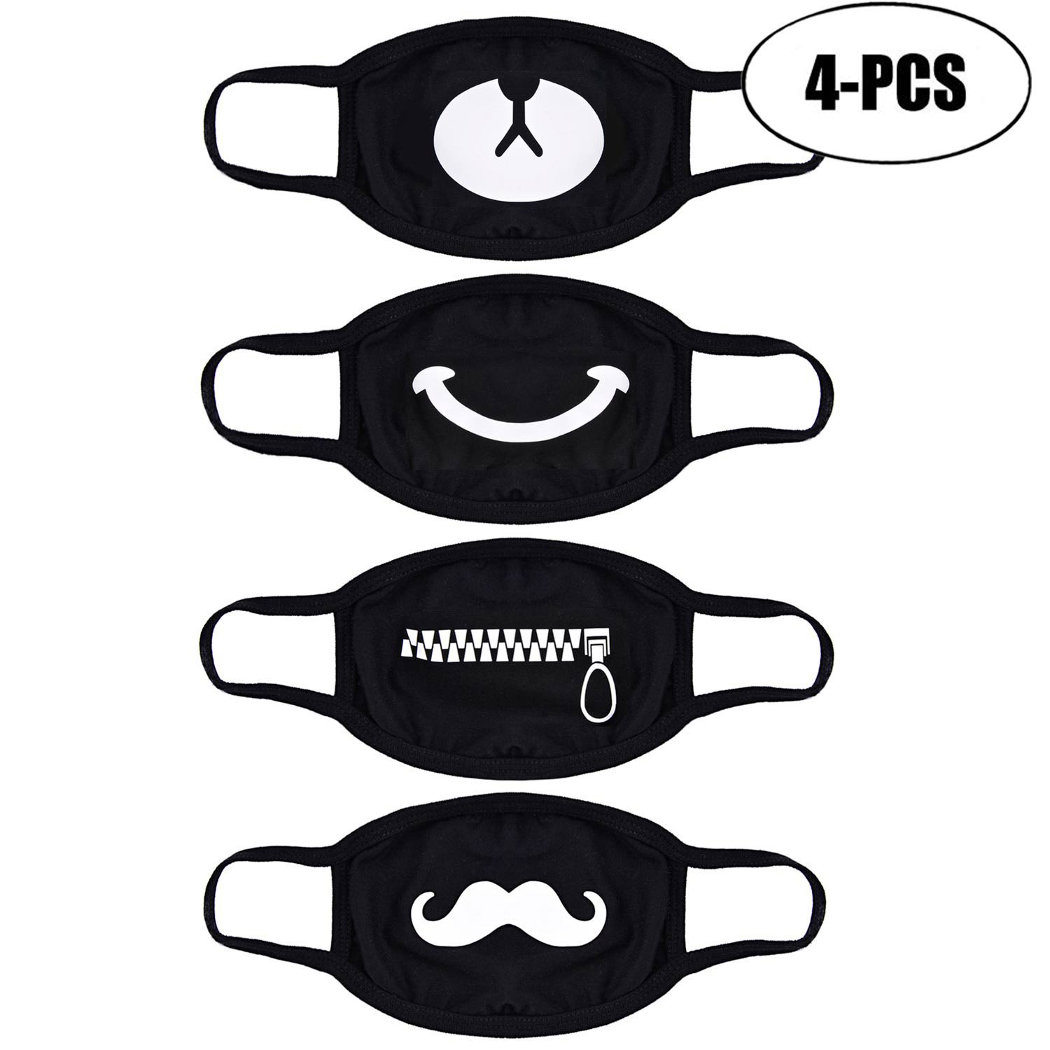 Mouth Mask, Fascigirl Unisex Blend Kawaii Muffle Cotton Kpop Mask Protective Earloop Anti-Dust Anime Mouth Cover Flu Germs Filters Mask Cute kaomoji Face Emoticon Mask for Men and Women 32B1622107BEEM733