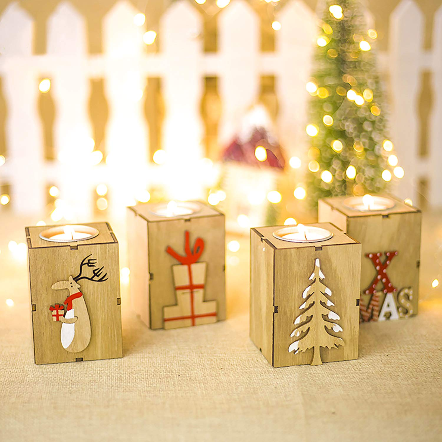 Amazing Home Wooden Tealight Candle Holders Set of 4, 3.5 inches Height Centerpieces for Christmas Wedding Home Decor