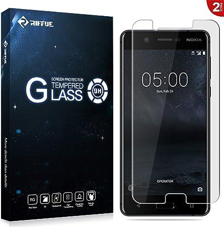 RIFFUE Nokia 5 Protector de Pantalla, Cristal Vidrio Templado ...