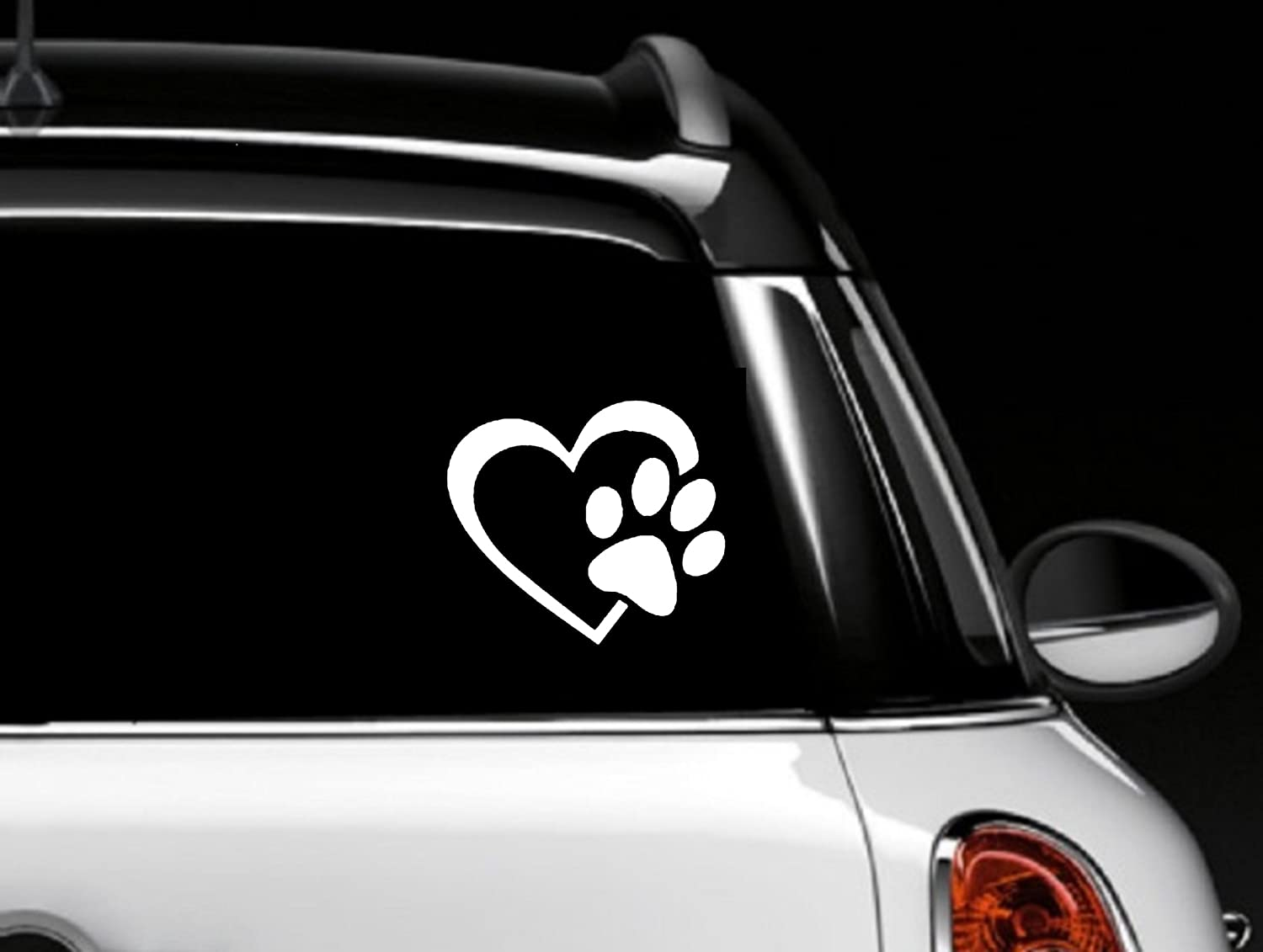 4 White Walls Laptops Decal Dude KWS-HWDP-4W Decalgeek HEART with DOG PAW Puppy Love Vinyl Decal Window Sticker for Cars Trucks 4 White Laptops Windows