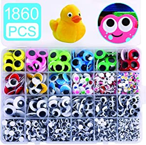 1860pcs Googly Wiggle Eyes Self-Adhesive, Wobbly Eyes for Craft Stickers Multi Colors and Sizes for DIY Craft Scrapbooking Decorations by AMOKIA