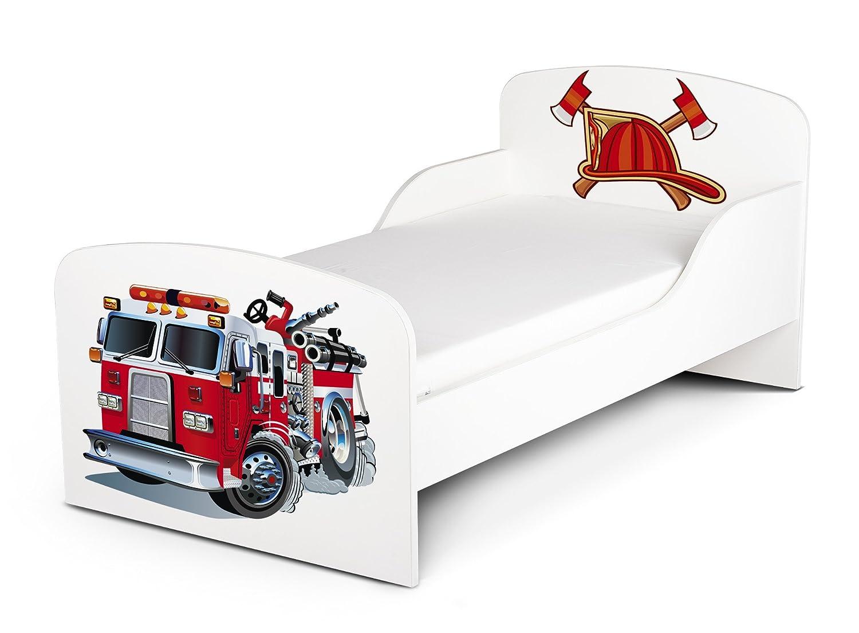 LEOMARK Letto Lettino Per Bambini In Legno e Materasso Dimensioni 140x70 Magnifiche Stampe Motivo Camion dei Pompieri