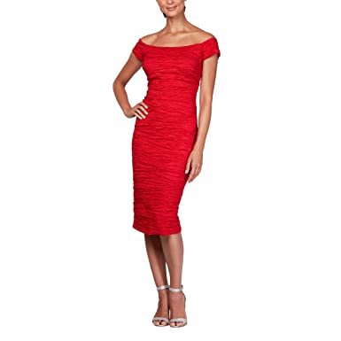 85274a59b303f Alex Evenings Women's Midi Off-The-Shoulder Stretch Taffeta Sheath Dress at  Amazon Women's Clothing store: