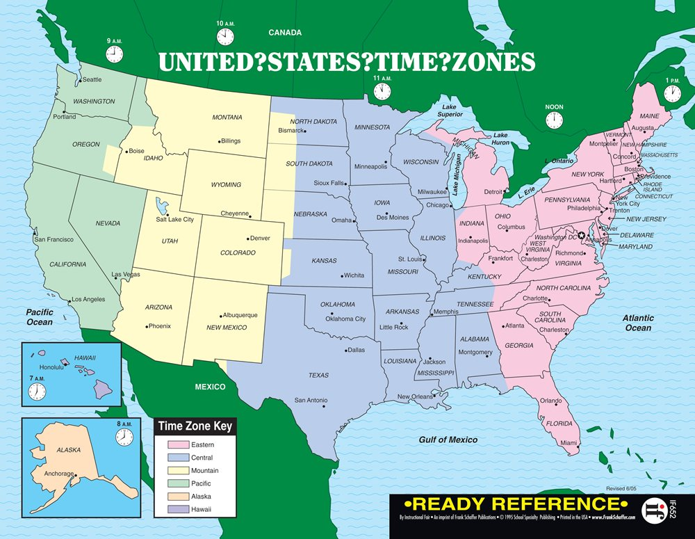 U S And World Maps With Time Zones Ready Reference 12 Pack