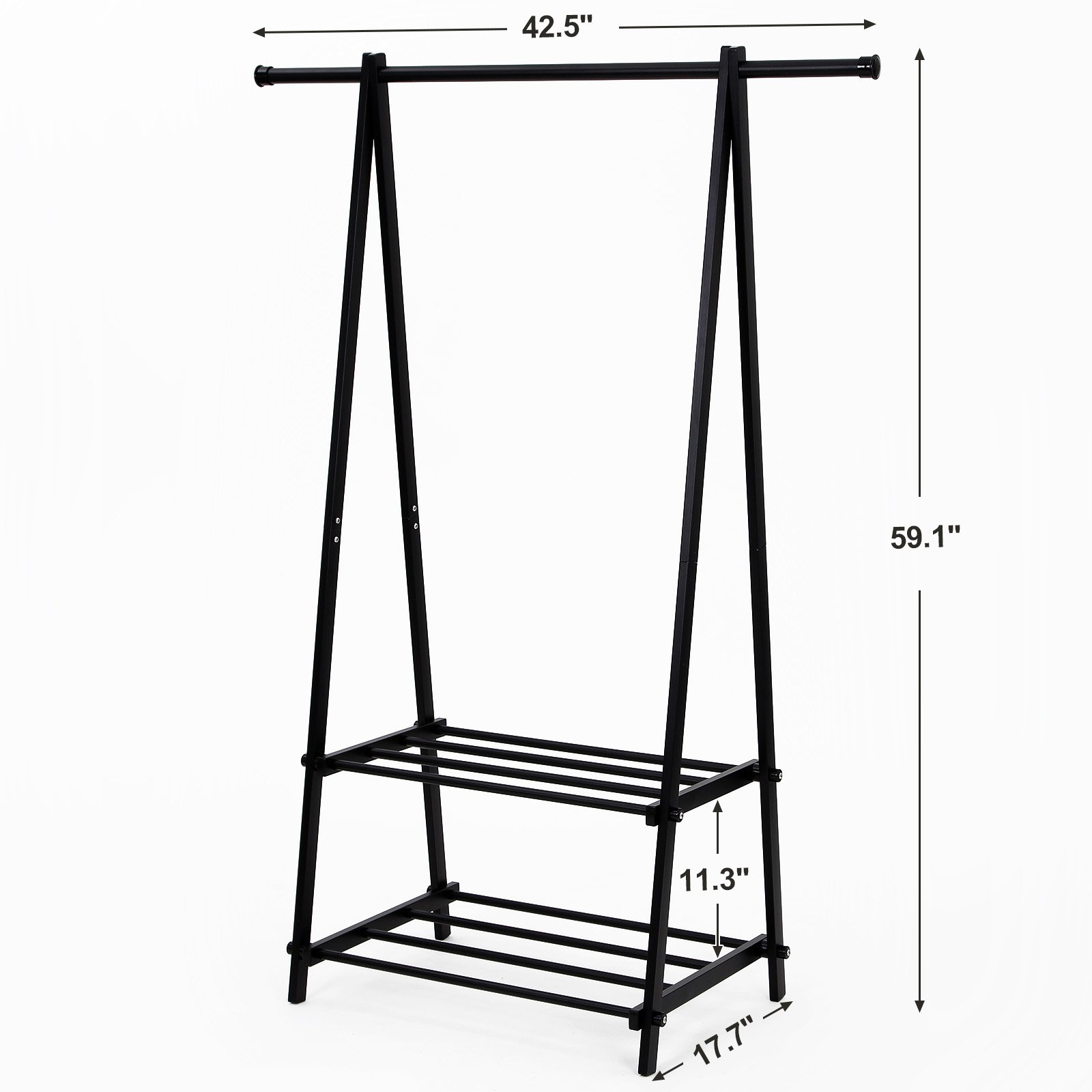 SONGMICS Clothing Garment Rack with 2-Tire Shelf for Shoes Clothes Storage Black URCR22B by SONGMICS (Image #4)