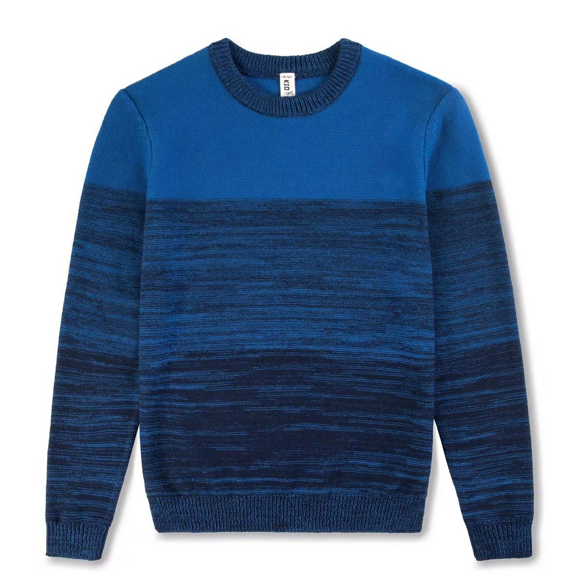 Kid Nation Boys' Sweater Cotton Long Sleeve Casual Pullover Mixed Engineered Colors Stripe Crew Neck Blue XL