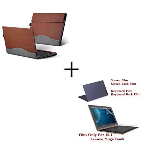 Veker Lenovo Yoga Book Case + Flim Cover, PU Leather Folio Stand Cover Compatible for Lenovo Yoga Book 2-in-1 10.1 Inch Tablet, Brown