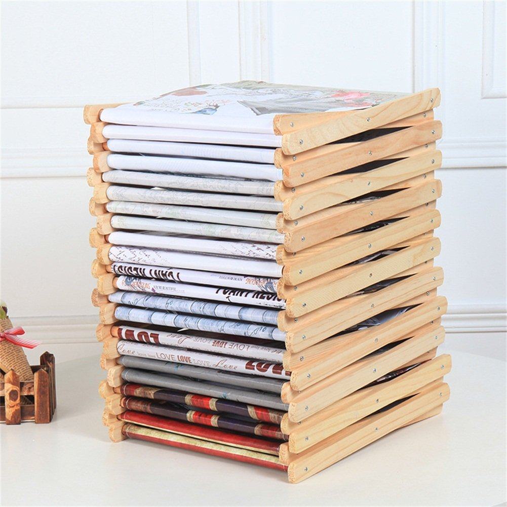 Foldable Storage Baskets - Waterproof Canvas & Pine Wood Storage Bins Square Storage Basket Wooden Shelves Storage for Toys, Desks, Makeup (British flag) by TOPCHANCES (Image #4)