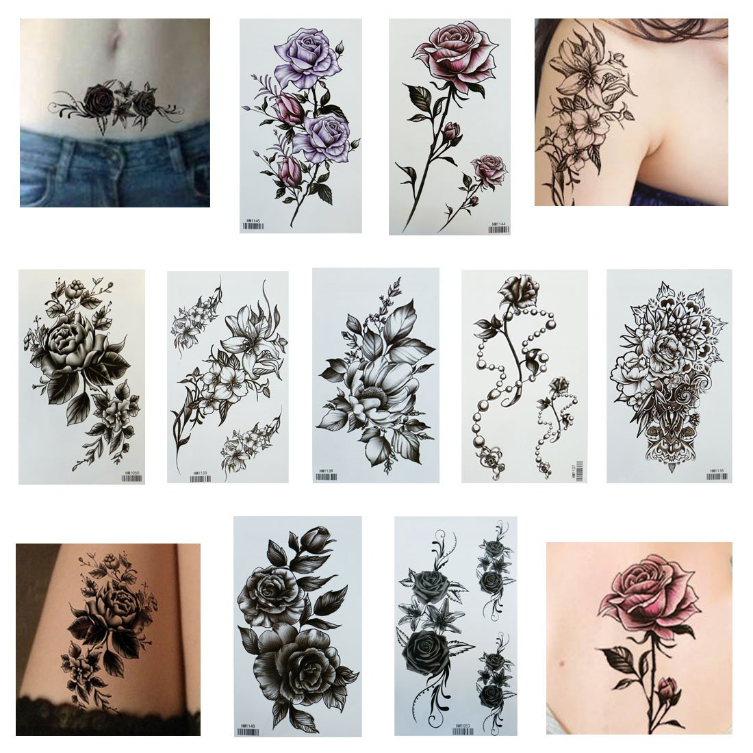Queentas 9 Sheets Large Temporary Tattoos Butterfly Paper Sexy Body Tattoo Sticker for Women & Girl Fake Tattoo
