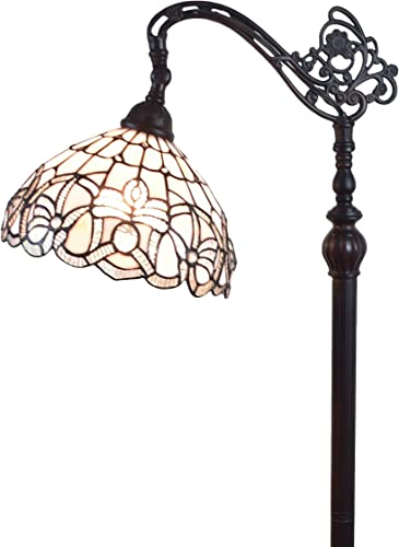 Amora Lighting Tiffany Style Floor Lamp Arched 62 Tall Stained Glass White Mahogany Antique Vintage Light Decor Bedroom Living Room Reading Gift AM283FL12B, 12 Inch Diameter