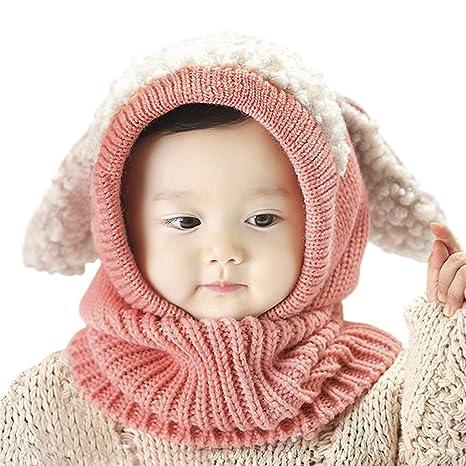 JIAHFR Bonnet Hiver Cagoule Enfant Bébé Bonnet Cache Oreilles Chapeau Laine  Tricoté Cache Cou Ensemble Bonnet eac0034fac6