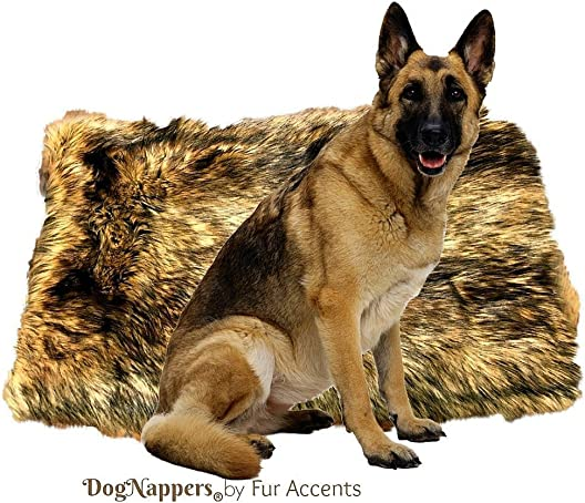 Fur Accents DogNappers Dog Bed Cat Mat Pet Pad – Luxury Padded Medium Wolf Faux Fur – Sheepskin Area Rug – Design Pet Accessories USA 30 x42 L