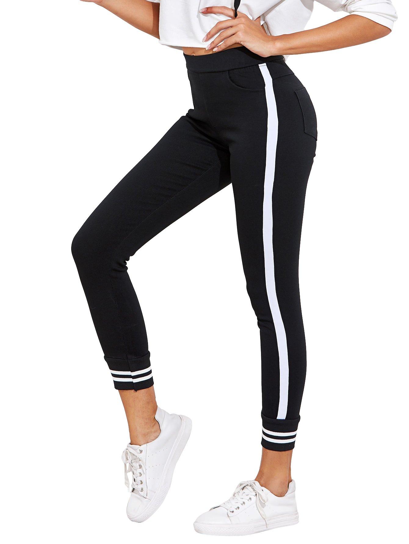 Romwe Women's Mid Waist Striped Contrast Sport Leggings Pants Black S