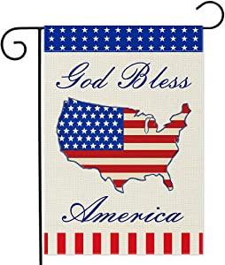 YMYIELD God Bless America Burlap Garden Flag 12.5x18 Inch, America Flag 4th of July Patriotic Memorial Day Independence Day America Flag Vertical Double Sided Banner Outdoor Indoor Lawn Home Decor Yard Flags for Patriotic Peace Decor