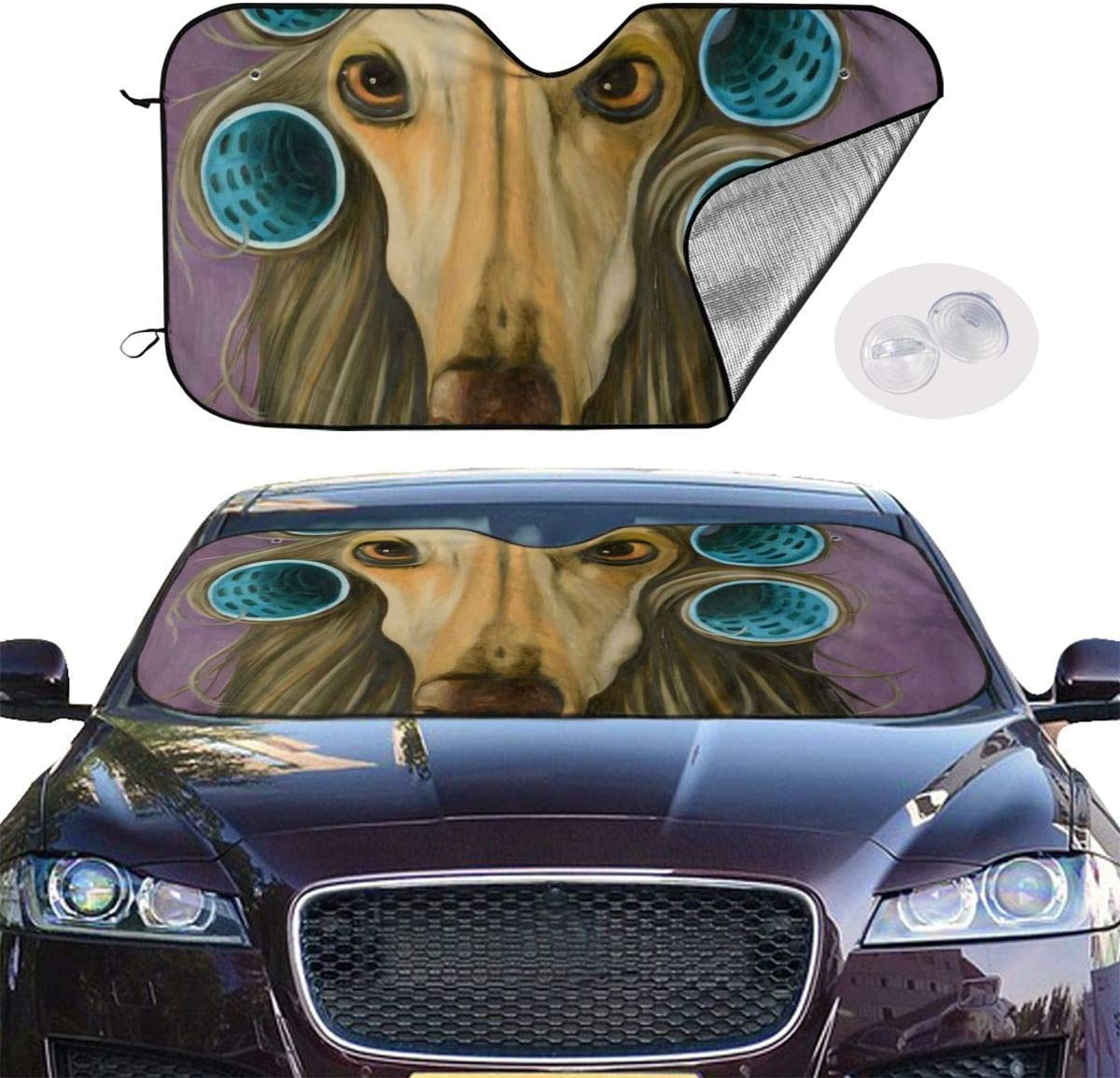 MOLLUDY Car Windshield Sunshade Blocks UV Rays Sun Visor Protector Afghan Hound Dog Hair Style Sunshade To Keep Your Vehicle Cool And Damage Free 70 130cm