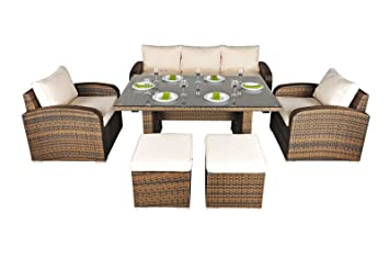 Enjoyable Nevada Rattan Garden Furniture 5 Seat Sofa Glass Top Table Caraccident5 Cool Chair Designs And Ideas Caraccident5Info
