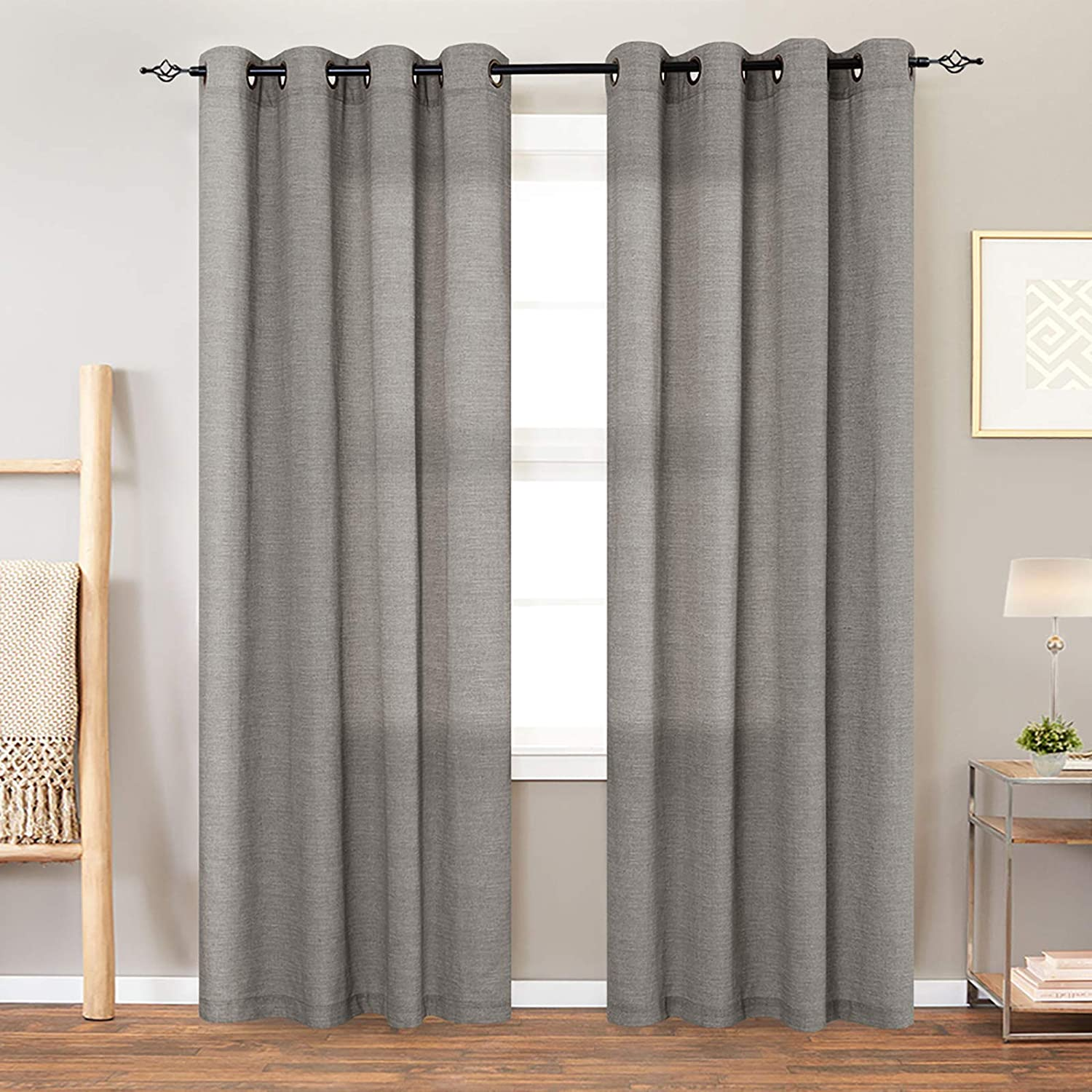 jinchan Linen Textured Curtains for Living Room Grommet Top Window Treatment Set for Bedroom 2 Panels 95 inches Long Charcoal Grey
