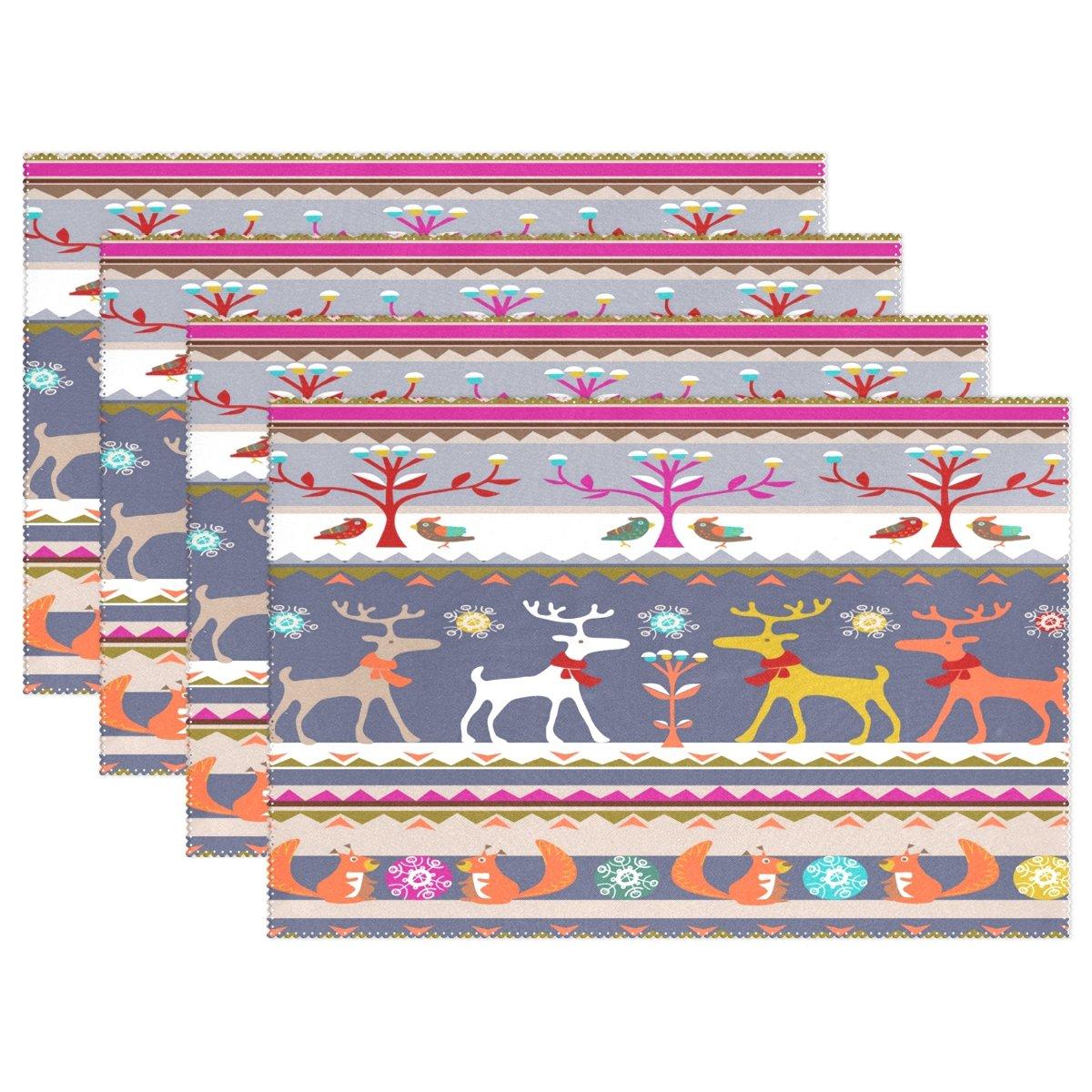 Wozo新しい年フォックス鹿ツリー鳥プレースマットテーブルマット12