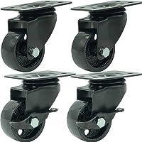 FactorDuty 4 All Black Metal Swivel Plate Caster Wheels w/Brake Lock Heavy Duty High-Gauge Steel (2″ Combo)