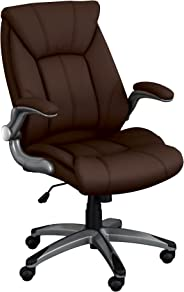 Norwood Commercial Furniture Executive Chair with Flip-Up Arms, Brown, NOR-OUG1041BR-SO