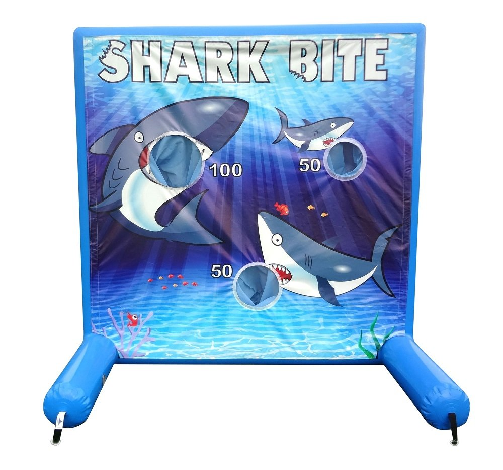 Shark Bite Air Inflatable Frame Game with Panel, Hand Pump, and Stakes Included for Carnivals, Schools, Churches, Birthday Parties, and Other Events