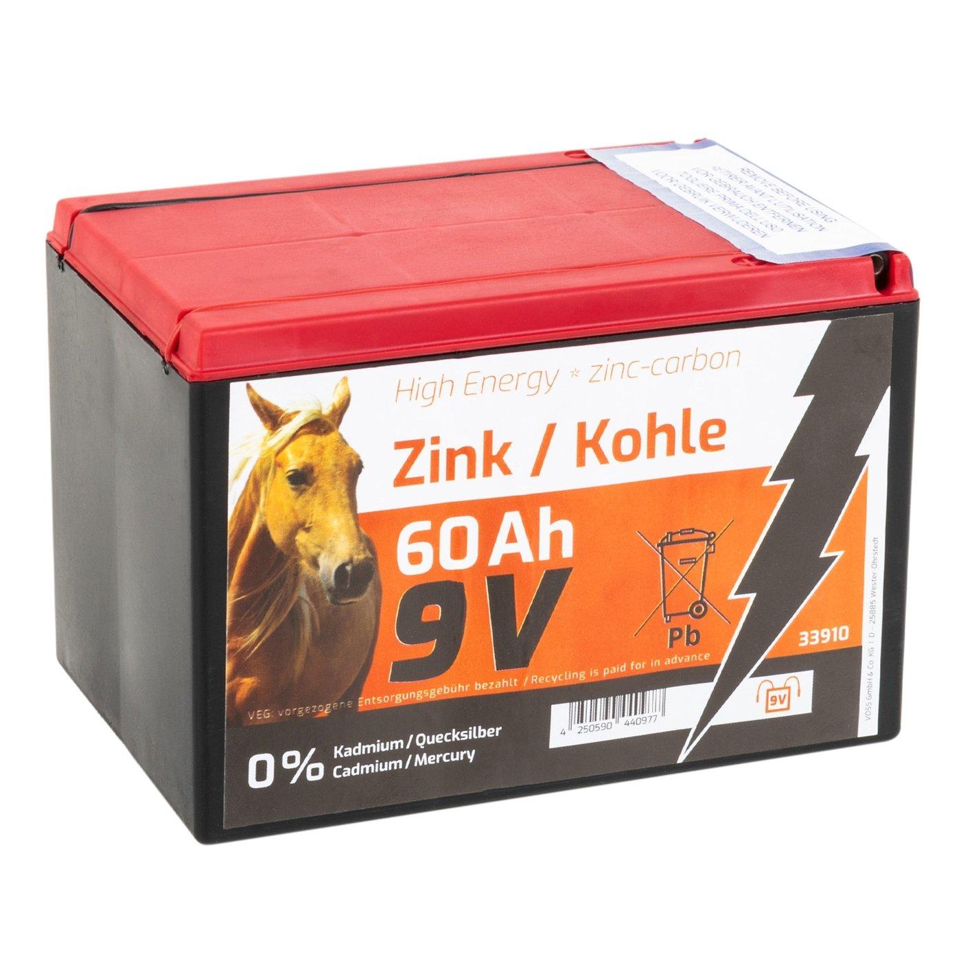 Voss.farming Batterie sèche Zinc Carbone 60 Ah 9V pour clôture électrique – Adaptée aux systèmes solaires - Petit modèle