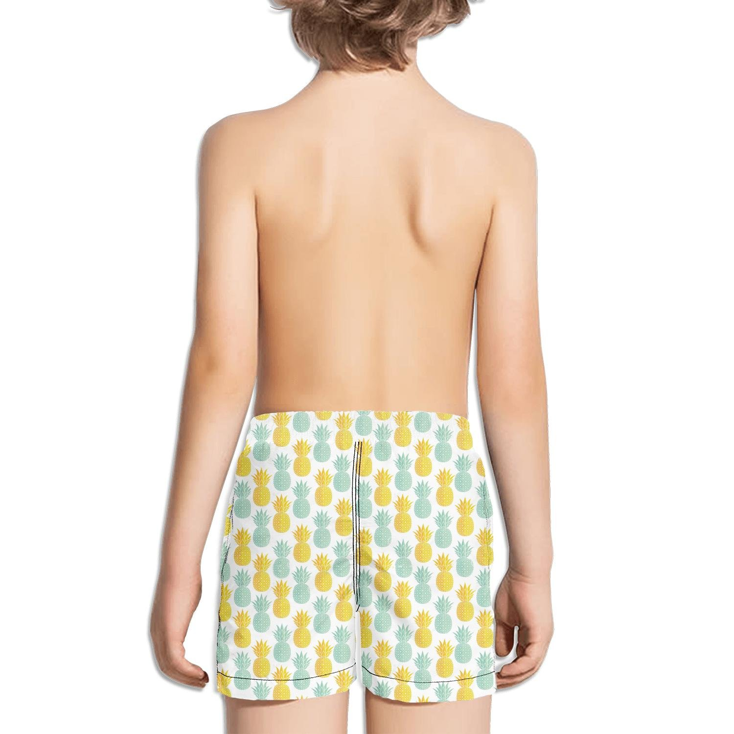 TylerLiu Gold Acqua Pineapple White Background Pattern Kids Boys Fast Drying Beach Swim Trunks Pants