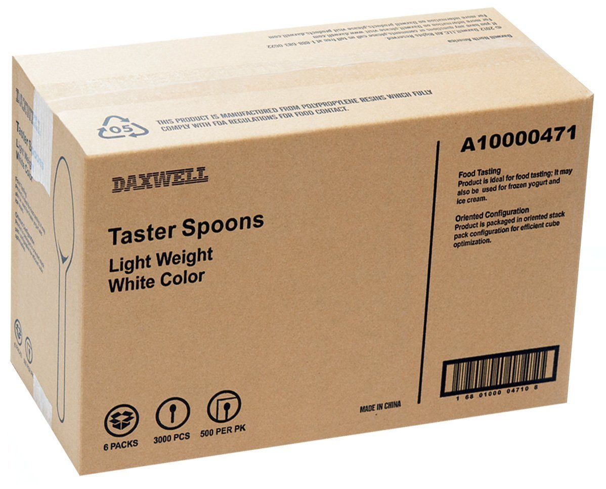 Daxwell A10000471 Plastic Cutlery, Light Weight Polypropylene (PP) Taster Spoons, White, 3.25'' (3,000; 6 Bags of 500) by Daxwell