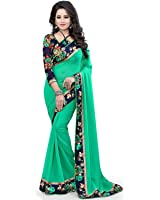 Shree Women's Georgette Saree With Blouse Piece (Green-002)