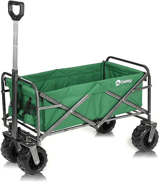 Sekey Carro Plegable Carro de Mano Carrito Playa Carro Transporte para Jardín hasta 120kg 360° Giratorio Apto para Todo Terreno, Verde: Amazon.es: Jardín