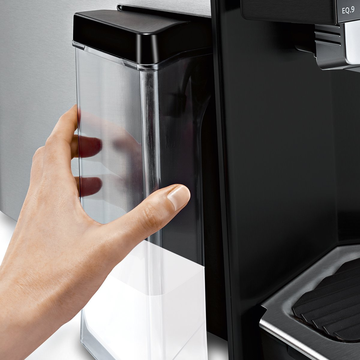 Siemens EQ.9 Independiente Máquina espresso Negro, Acero inoxidable 2,3 L 2 tazas Totalmente automática - Cafetera (Independiente, Máquina espresso, 2,3 L, ...