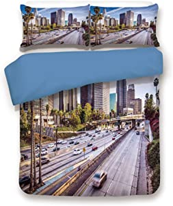 Blue 3pc Bedding Set,Downtown Cityscape of Los Angeles California USA Avenue Buildings Palms King Duvet Cover Set,Printed Comforter Cover with 2 Pillowcases for Teens Boys Girls & Adults