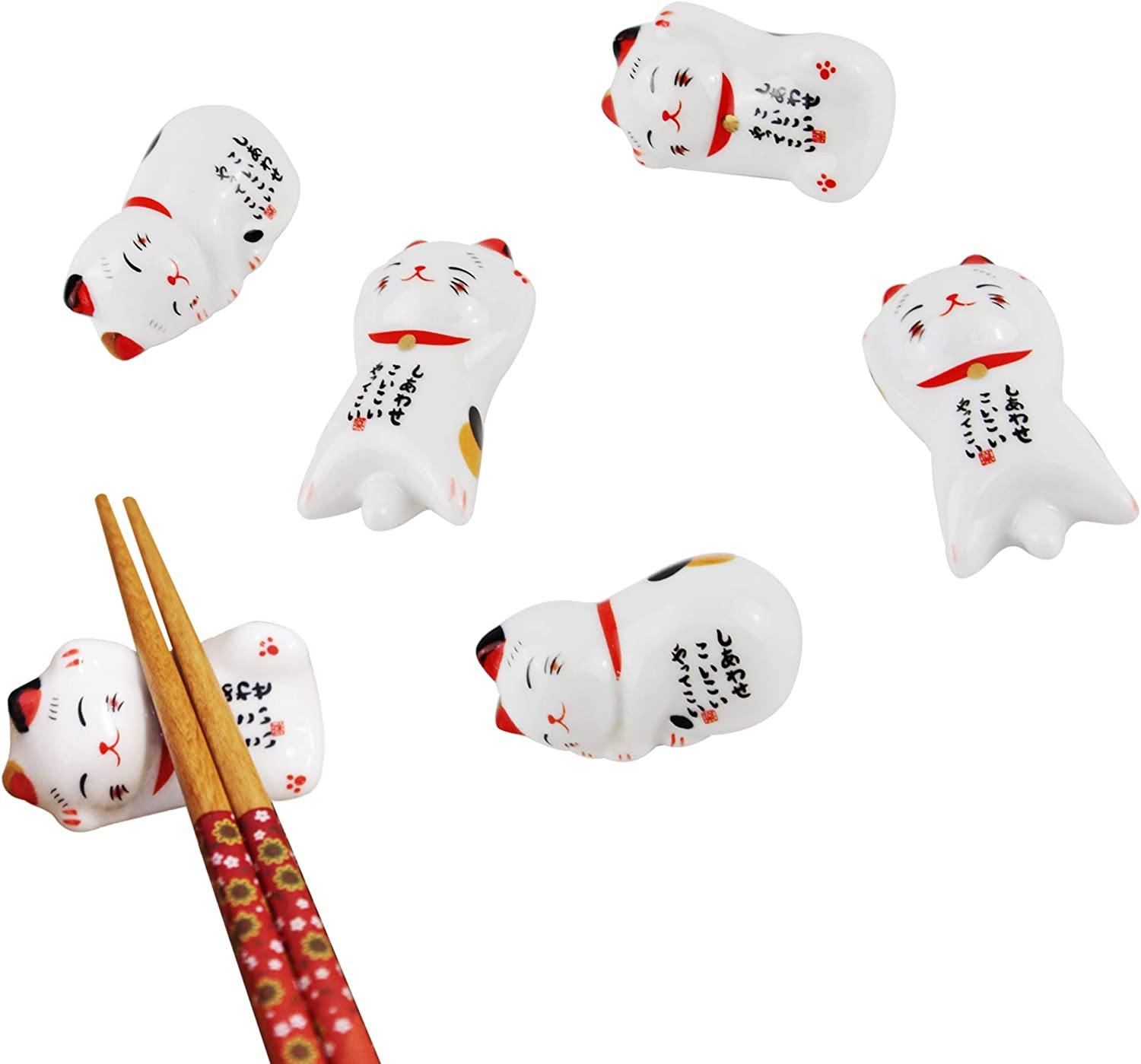 6 Pcs Japanese Lucky Cat Chopsticks Rest Ceramic Dinner Spoon Rest Fork Knife Tableware Holder w Box for Decor Housewarming Gift
