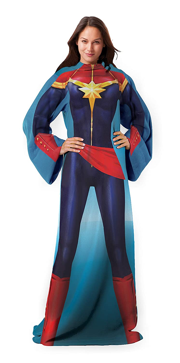 """Marvel's Captain Marvel, """"Mighty Captain Marvel"""" Adult Comfy Throw Blanket with Sleeves, 48"""" x 71"""", Multi Color"""