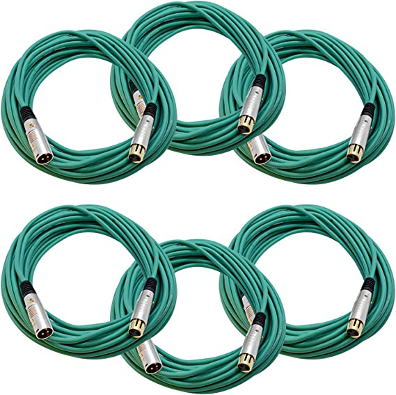 SAPGX-2Green-6Pack Seismic Audio 6 Pack of 2 Foot Gold Plated Green XLR Mic Microphone Patch Cable Cord Balanced