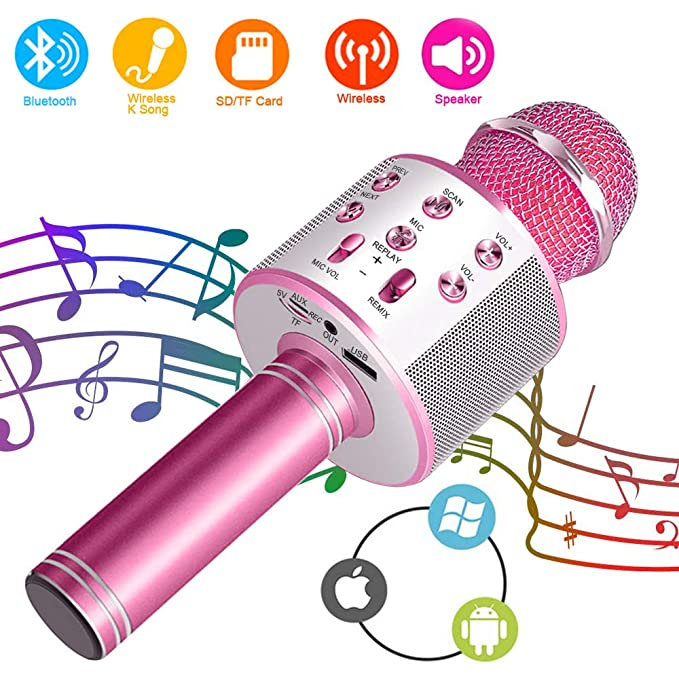 Suntop Micrófono Karaoke Bluetooth, Micrófono Inalámbrico Bluetooth, Bluetooth Altavoz, Micrófono Karaoke Portátil para KTV, Micrófono Wireless Bluetooth ...