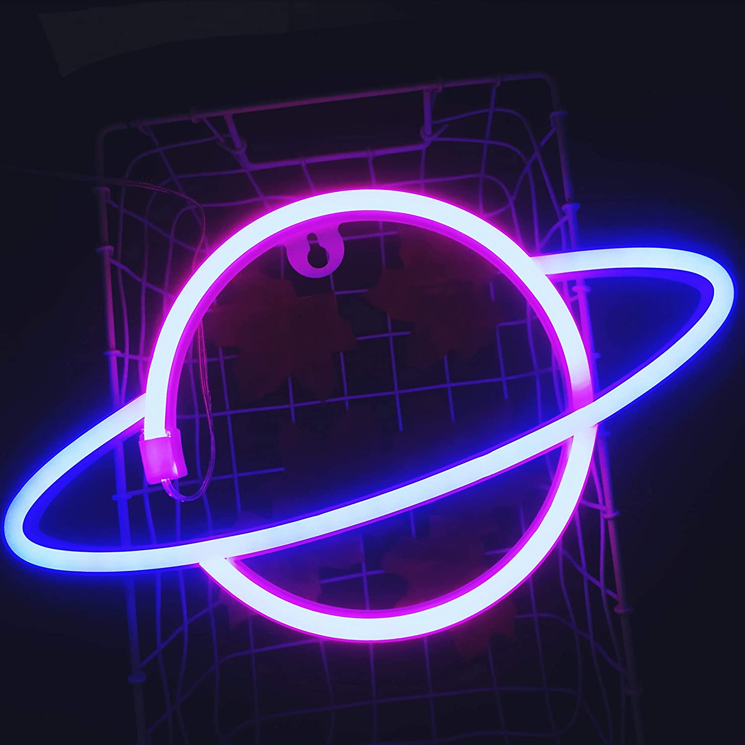 JYWJ Planet Neon Sign Pink&Blue, 3-AA Battery Powered Neon Light,LED Lights Table Decoration,Girls Bedroom Wall Décor,Kids Birthday Gift,Wedding Party Supplies Business Gifts Neon Signs