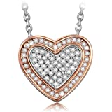 """Pauline & Morgen """"Cupid Heart"""" Crystal White Gold Plated Women Necklace - With its delicate hearts, it's the perfect way to say I love you!"""