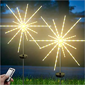 DenicMic Outdoor Solar Garden Decorative Lights 2 Pack, Outdoor Solar Firework Starburst Lights with Remote, 8 Modes Landscape Flowers Stake Lights Waterproof for Garden Yard Patio Lawn Decorations