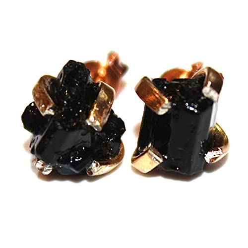 311a1c993 Image Unavailable. Image not available for. Color: Raw Black Tourmaline  Stud Earrings