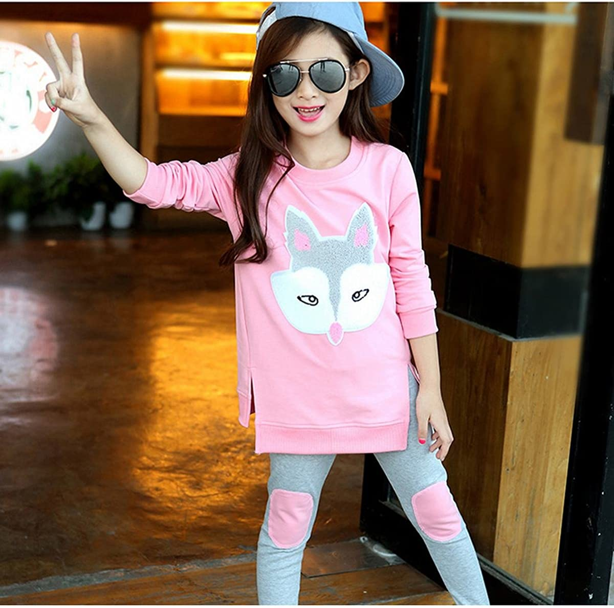 EFZQ Little Girls 2 Pieces Long Sleeve Top and Legging Sets