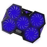 Nobelbird 冷却ファン ノートパソコン 冷却パッド PC冷却ファン ノートPCクーラー 冷却台 五つ大冷却ファン 強力冷却 17インチ型まで対応 ps3 ps4 冷却 LED搭載 超静音 2段階角度調整 スタンド 折りたたみ 2口USBポート 風量調節可 (ブルー)