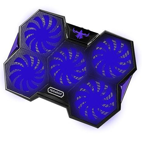 Nobebird Base de Refrigeración para Ordenador Portátil, Base Portatil Gaming con 5 Ventiladores Ultra Silenciosos