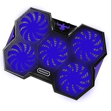 Nobelbird Base de Refrigeración para Ordenador Portátil, Base Portatil Gaming con 5 Ventiladores Ultra Silenciosos con Luces LED Azules,2 Puertos USB 2.0 ...