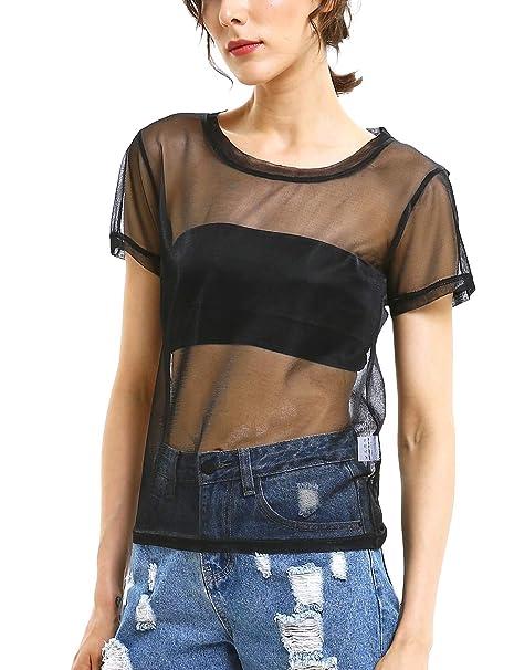669c1055 Mirawise Women's Holographic Mesh Shirts Metallic Black Shimmer Sexy See  Through Shiny Sheer Tops